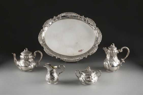 FOUR-PIECE TEA AND COFFEE SERVICE ON TRAY - photo 1
