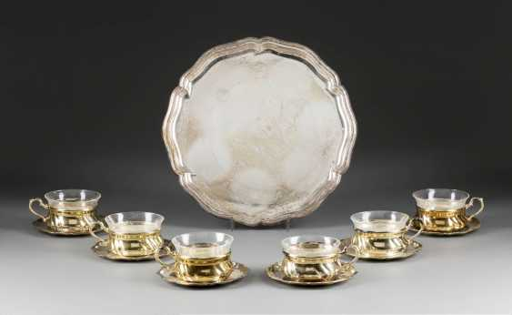 SIX CUPS WITH GLASS INSERT WITH SAUCERS AND A TRAY - photo 1