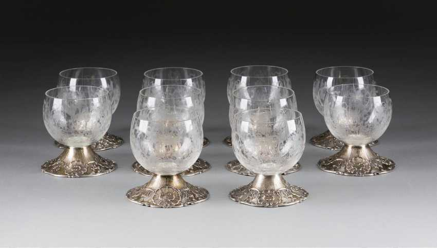 TEN WINE GLASSES WITH SILVER MOUNTS - photo 1