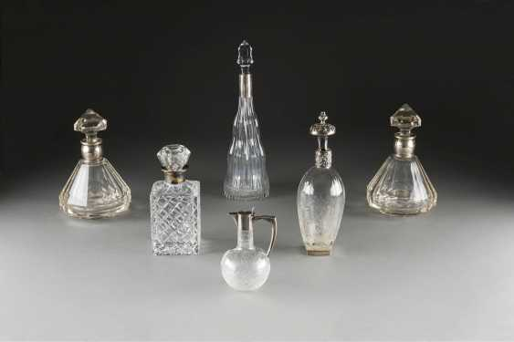SIX GLASS DECANTERS WITH SILVER MOUNTS - photo 1