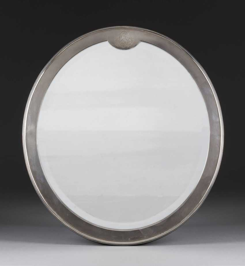 TABLE MIRROR WITH SILVER MOUNT - photo 1