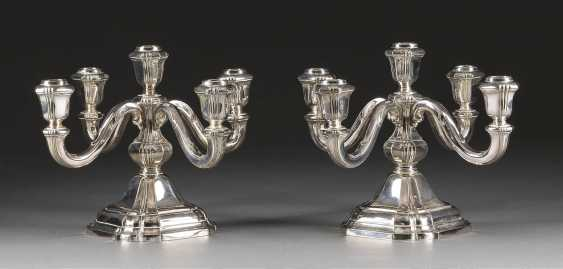 PAIR OF FIVE-FLAME CANDELABRA - photo 1