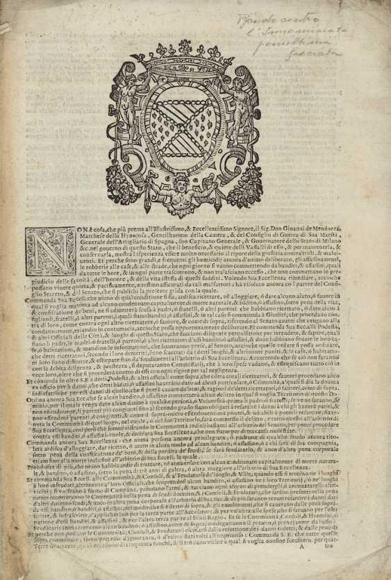 [GRIDA: PROMESSI SPOSI, L'INNOMINATO]. - Milan: Regia Ducal Corte per Pandolfo e Marco Tullio Malatesta, 1614.  - photo 1