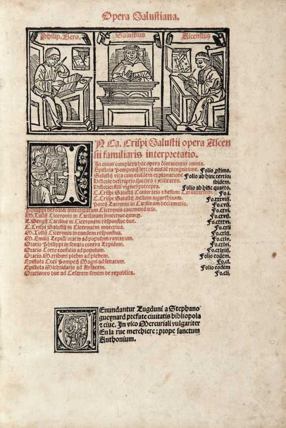 SALLUSTIO, Gaio Crispo (86-34 A.C.) - Opera Salustiana. Lyon: Stephano Gueynard, 1506.  - photo 1