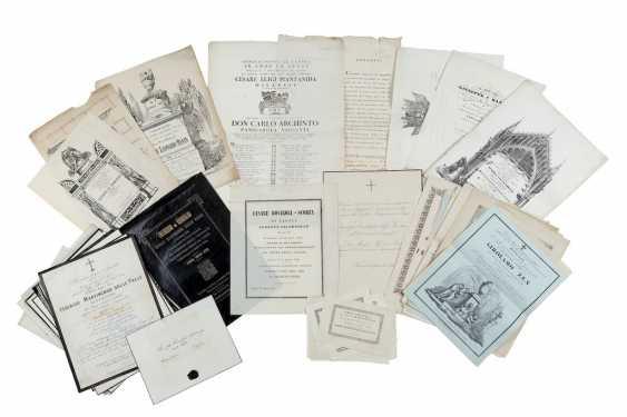 [FUNERALIA] - Sammlung von hundert Ankündigungen und Leichenbestattungen. United Lombardo Veneto: Mitte des 19. Jahrhunderts. - Foto 1