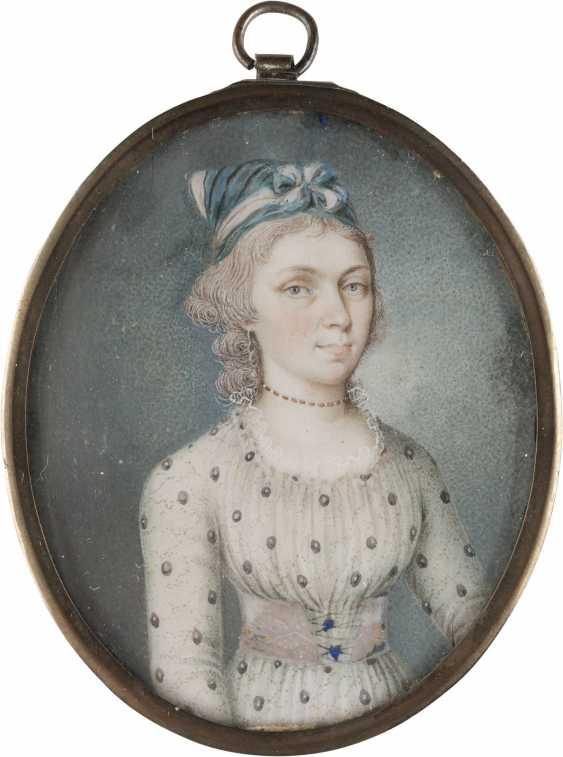 PORTRAIT MINIATURE EMPIRE LADY - photo 1