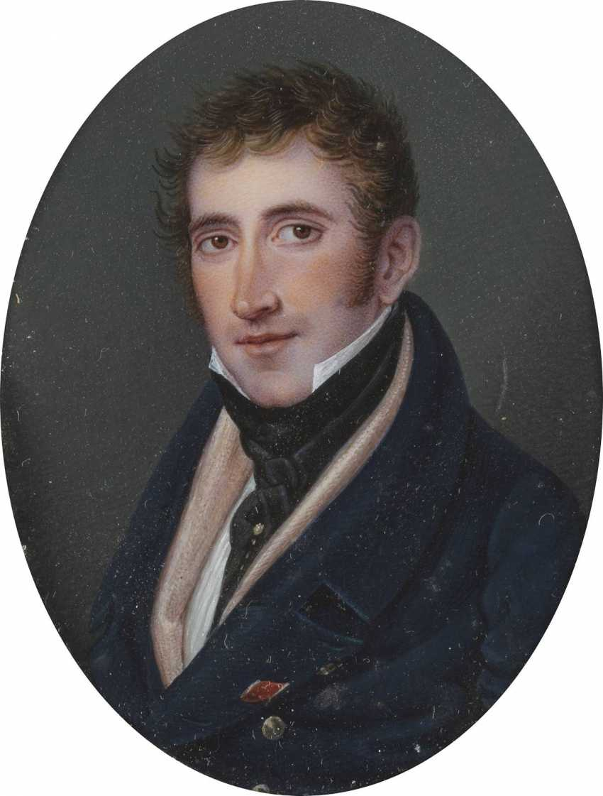 PORTRAIT MINIATURE OF A YOUNG GENTLEMEN IN THE ORIGINAL CASE - photo 1