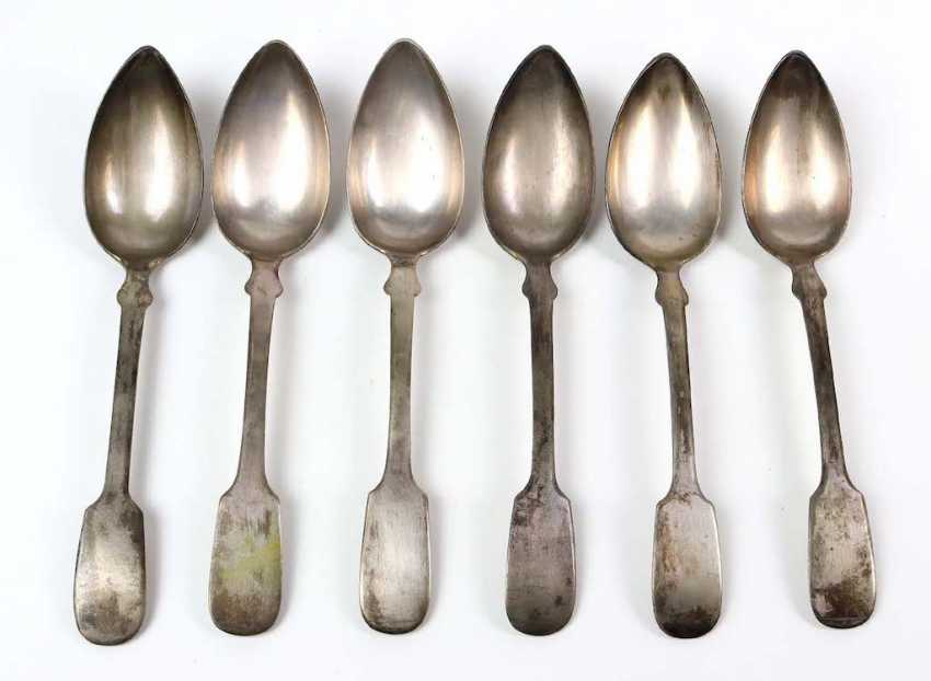 Set of Biedermeier spade spoons silver - photo 1