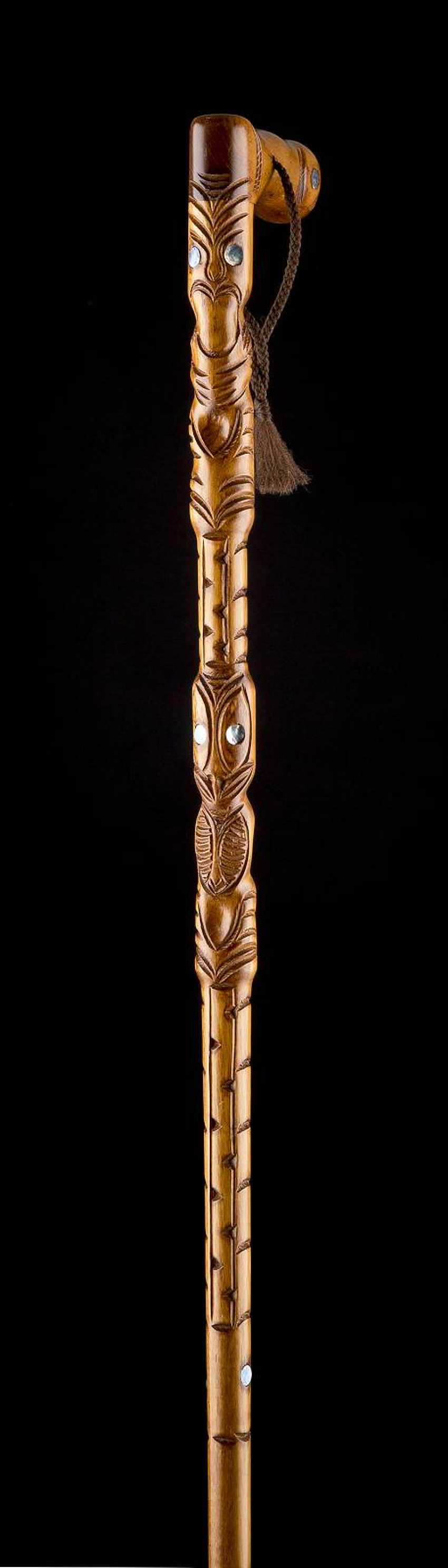 WALKING STICK WITH MOTHER OF PEARL INLAYS - photo 1