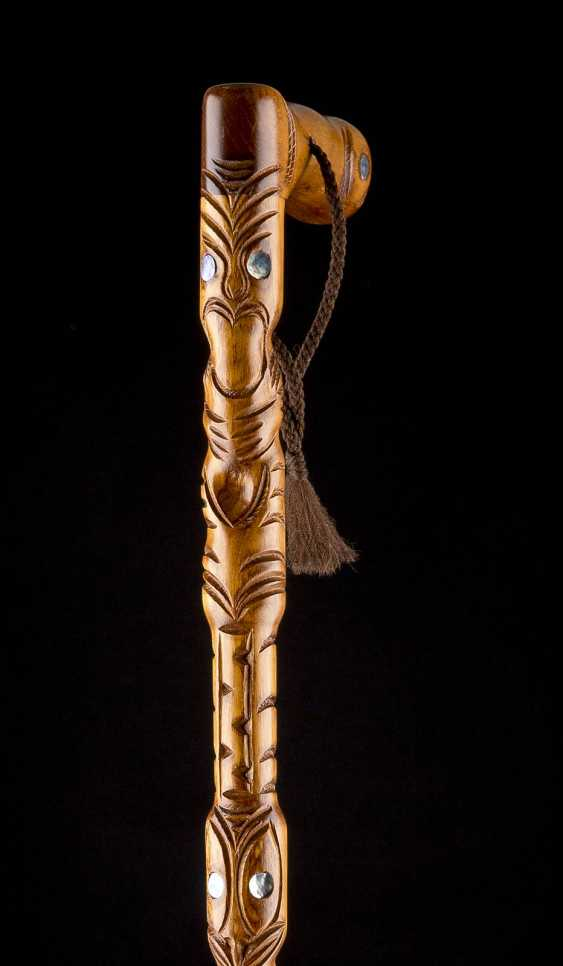 WALKING STICK WITH MOTHER OF PEARL INLAYS - photo 2