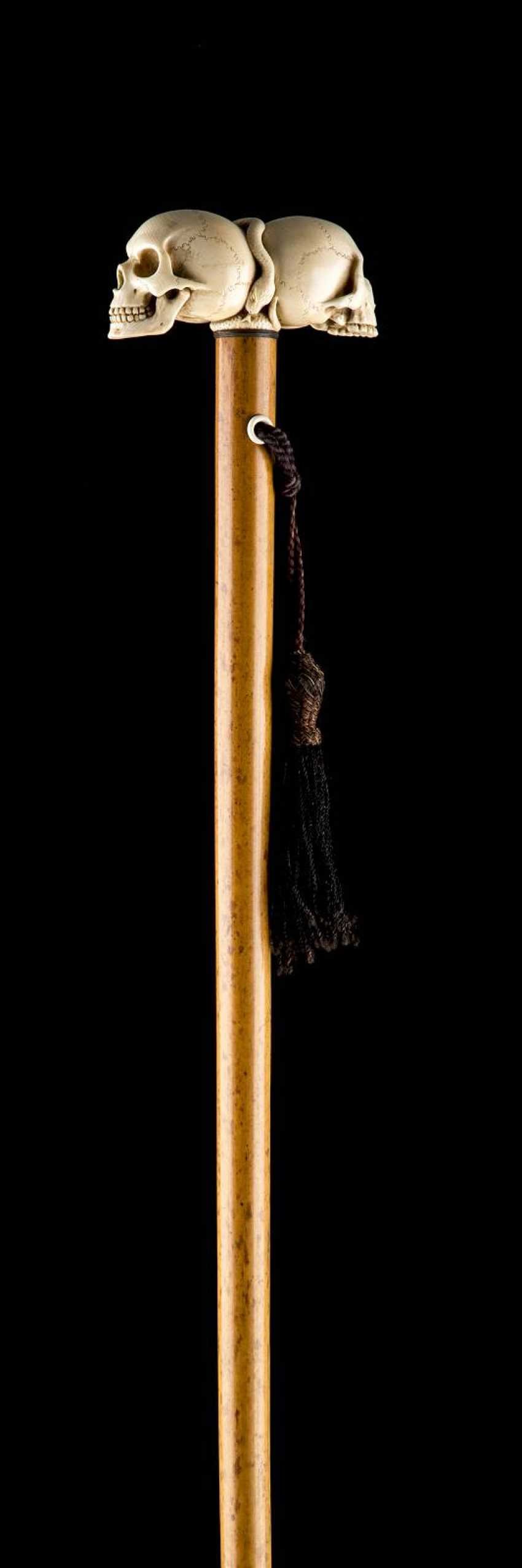 WALKING STICK WITH A DOUBLE-SKULL AND CROSSBONES - photo 1