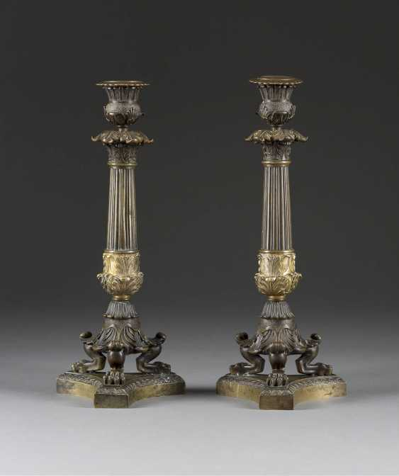 PAIR OF CANDLESTICKS IN THE EMPIRE STYLE - photo 1