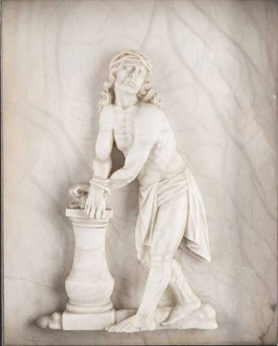 MARBLE RELIEF OF 'CHRIST AT THE SCOURGE COLUMN' - photo 1