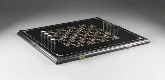 DECORATIVE CHECKERS/BACKGAMMON GAME BOARD WITH STONES - photo 1