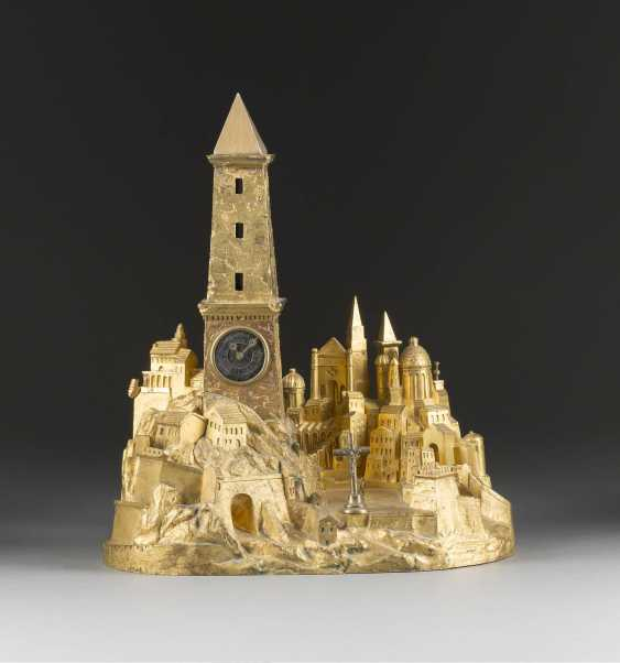SIGNIFICANT FIREPLACE CLOCK WITH CITY ARCHITECTURE - photo 1