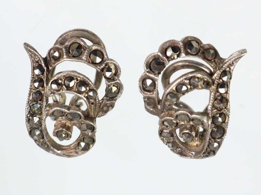 Silver marcasite clip earrings - photo 1