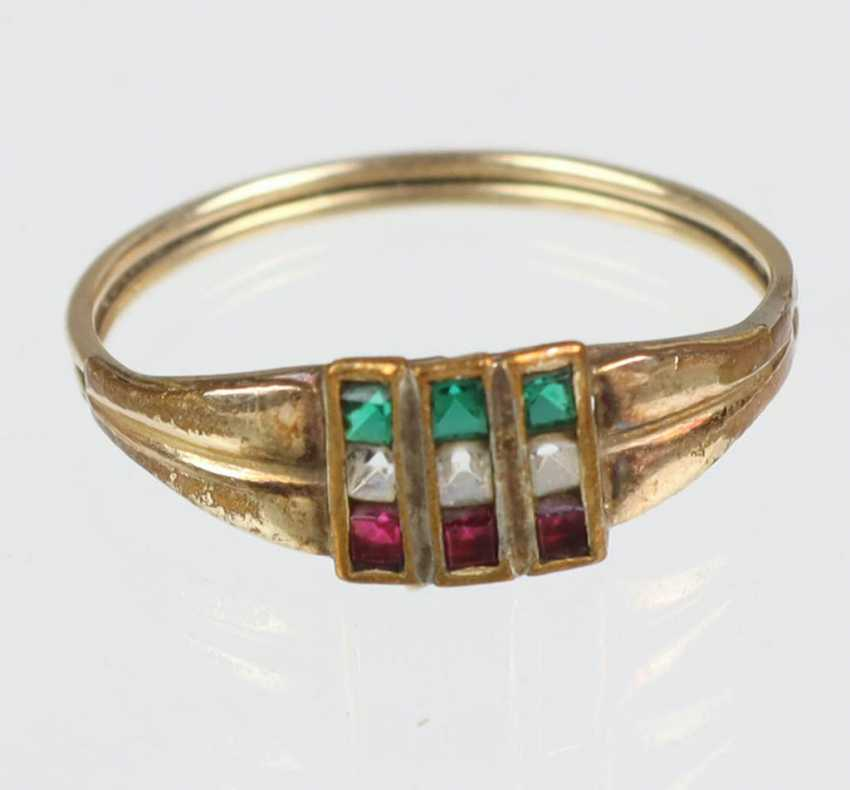 Tricolore ring yellow gold 333 - photo 1