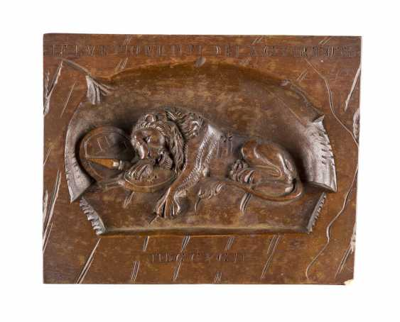 RELIEF PANEL WITH THE LION OF LUCERNE MONUMENT - photo 1