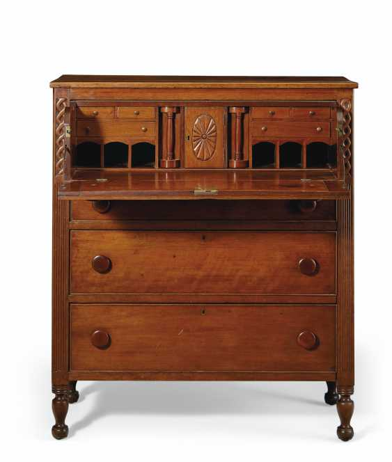 A FEDERAL CARVED CHERRYWOOD CHEST-OF-DRAWERS WITH DESK - photo 1