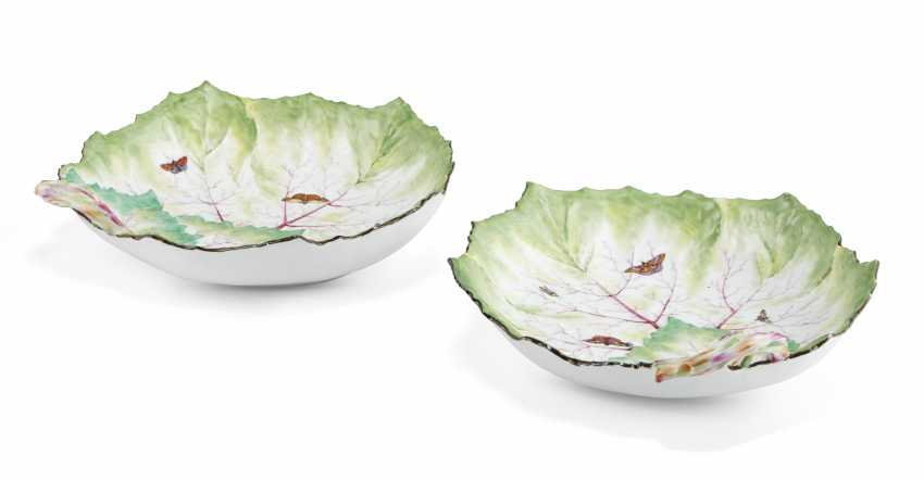 A PAIR OF BERLIN PORCELAIN LEAF-SHAPED DISHES - photo 1