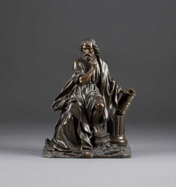 FRENCH image sculptor Active 2. Half of the 19th century. Century, Seated Scholar - photo 1