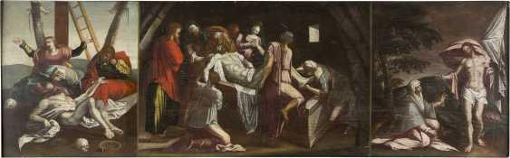 OBERITALIENISCHER/ALPENLÄNDISCHER MEISTER Tätig Ende 17. Jahrhundert DREITEILIGE PASSIONSFOLGE: KREUZABNAHME, GRABLEGUNG UND NOLI ME TANGERE - photo 1