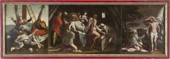 OBERITALIENISCHER/ALPENLÄNDISCHER MEISTER Tätig Ende 17. Jahrhundert DREITEILIGE PASSIONSFOLGE: KREUZABNAHME, GRABLEGUNG UND NOLI ME TANGERE - photo 2