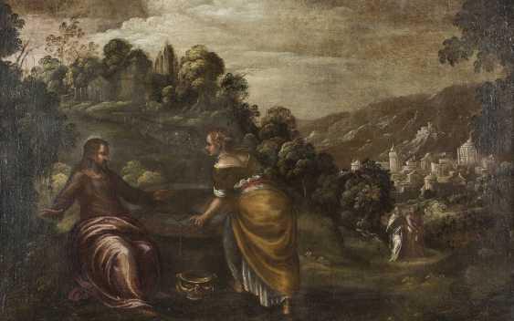 LODEWIJK TOEPUT (ATTR.) Um 1550 Antwerpen - 1603/05 Treviso CHRISTUS UND DIE SAMARITERIN - photo 1