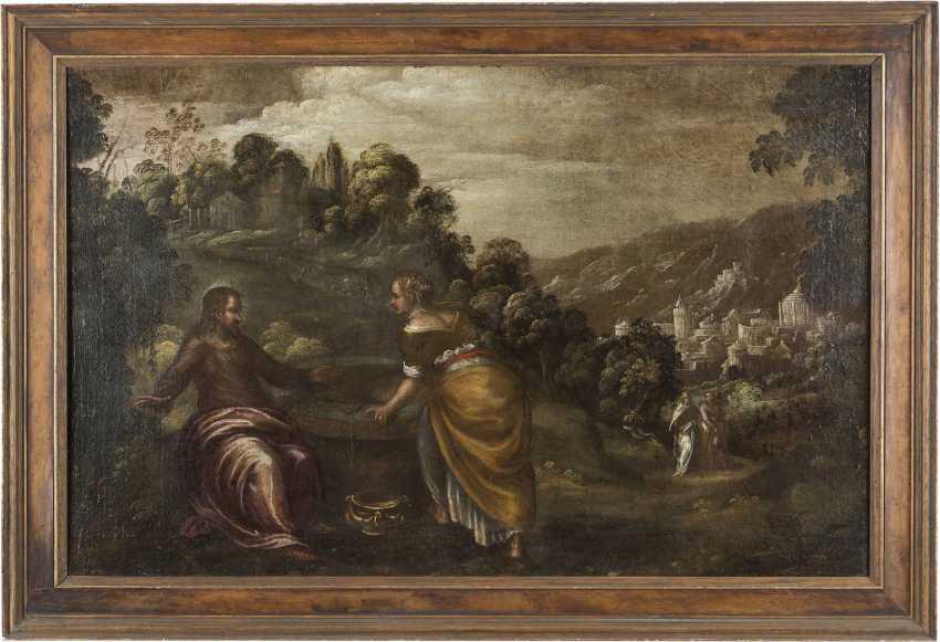 LODEWIJK TOEPUT (ATTR.) Um 1550 Antwerpen - 1603/05 Treviso CHRISTUS UND DIE SAMARITERIN - photo 2