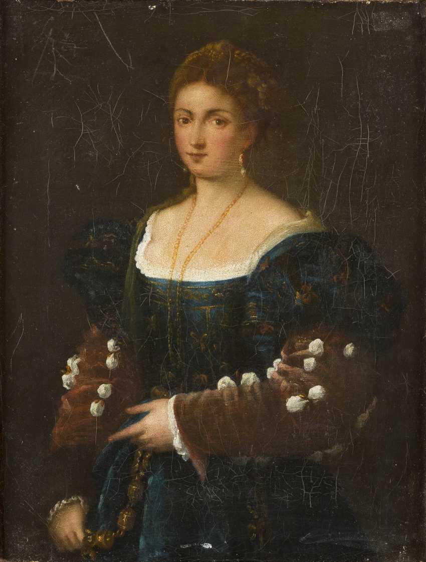 SEBASTIANO DEL PIOMBO UND TIZIANO VECCELLIO (IN DER ART DES/NACHFOLGER) 1485 Venedig - 1547 Rom und 1488 Pieve di Cadore - 1576 Venedig ZWEI GEMÄLDE: NACH SEBASTIANO DEL PIOMBO (DER VIOLINENSPIELER) UND TIZIANO VECCELLIO (LA BELLA) - photo 3