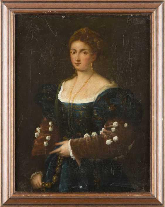 SEBASTIANO DEL PIOMBO UND TIZIANO VECCELLIO (IN DER ART DES/NACHFOLGER) 1485 Venedig - 1547 Rom und 1488 Pieve di Cadore - 1576 Venedig ZWEI GEMÄLDE: NACH SEBASTIANO DEL PIOMBO (DER VIOLINENSPIELER) UND TIZIANO VECCELLIO (LA BELLA) - photo 4