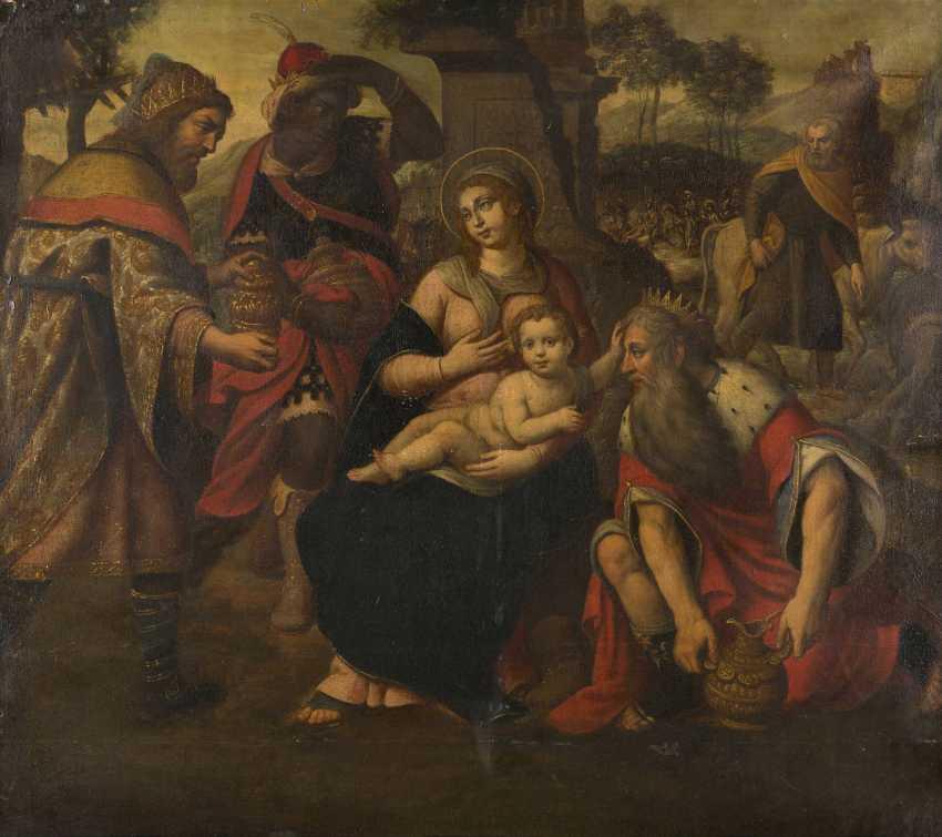 NIEDERRHEINISCHER MEISTER Tätig, um 1580/ 1590. ANBETUNG DER HEILIGEN DREI KÖNIGE - photo 1