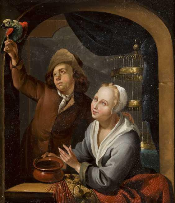LOUIS DE MONI (CIRCLE) 1687 Breda - 1761 Leiden JUNGES PAAR MIT PAPAGEI - photo 1