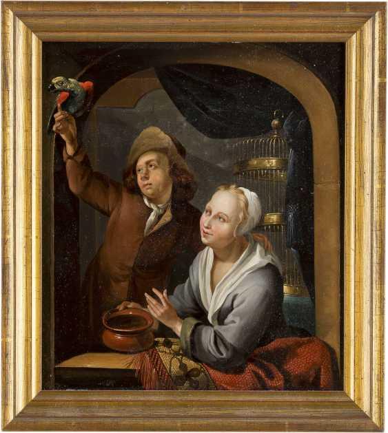 LOUIS DE MONI (CIRCLE) 1687 Breda - 1761 Leiden JUNGES PAAR MIT PAPAGEI - photo 2