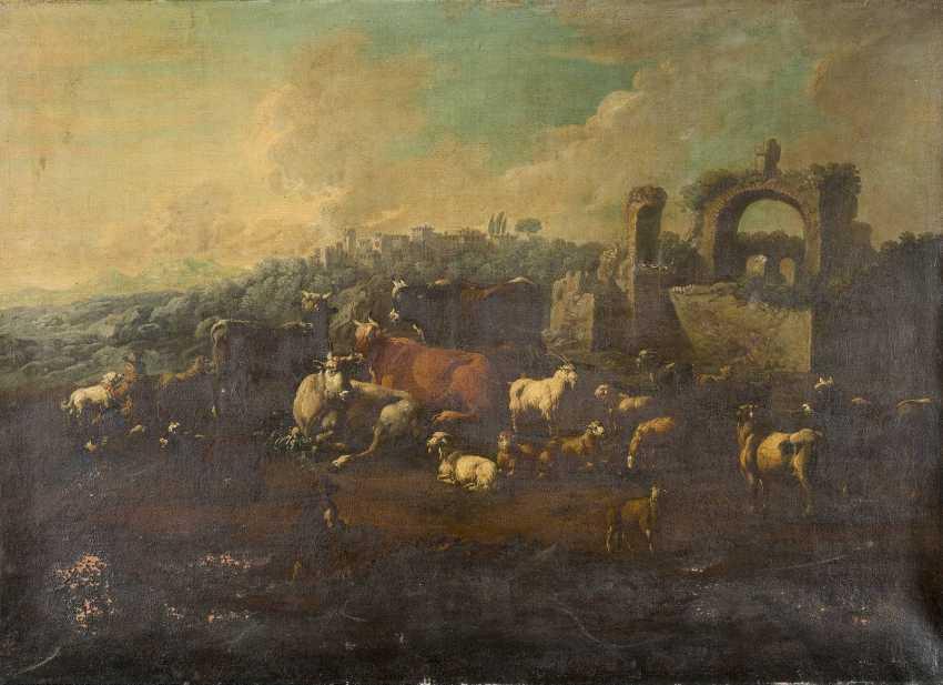 JOHANN HEINRICH ROOS (UMKREIS) 1631 Otterberg - 1685 Frankfurt am Main ITALIENISCHE LANDSCHAFT MIT HIRTEN UND VIEH - photo 1