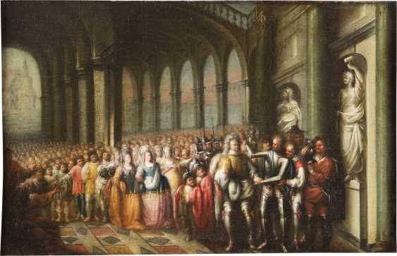 NIEDERRHEINISCHER KÜNSTLER Tätig, um 1680 VERSAMMLUNG MIT RITTERN UND HOFSTAAT - photo 1