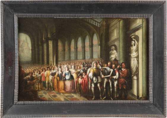 NIEDERRHEINISCHER KÜNSTLER Tätig, um 1680 VERSAMMLUNG MIT RITTERN UND HOFSTAAT - photo 2