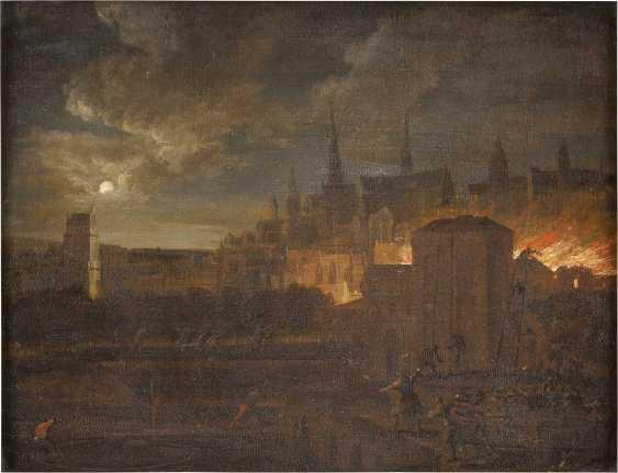 JOHANN GEORG TRAUTMANN (ATTR.) 1713 Zweibrücken - 1769 Frankfurt (Main) NÄCHTLICHE FEUERSBRUNST IN EINER STADT - Foto 1