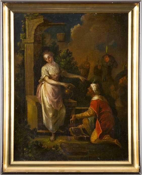 ITALIENISCHE/ALPENLÄNDISCHE SCHULE Tätig im 18. Jahrhundert REBEKKA UND ELISIER AM BRUNNEN - photo 2