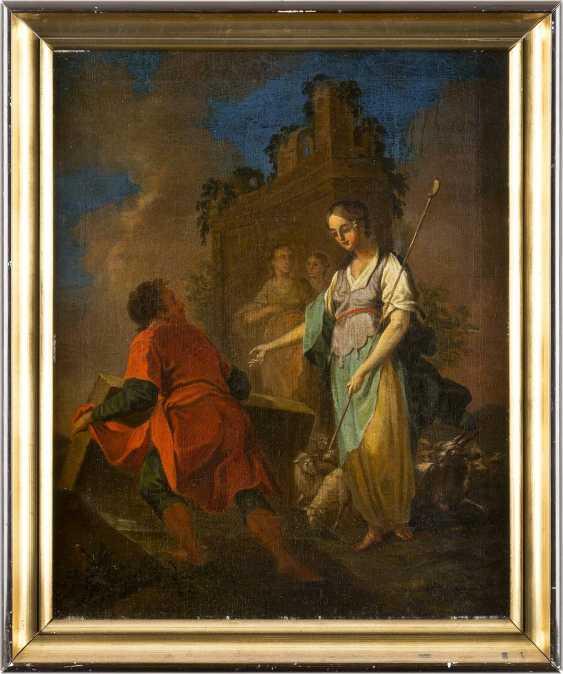 ITALIENISCHE/ALPENLÄNDISCHE SCHULE Tätig im 18. Jahrhundert REBEKKA UND ELISIER AM BRUNNEN - photo 1