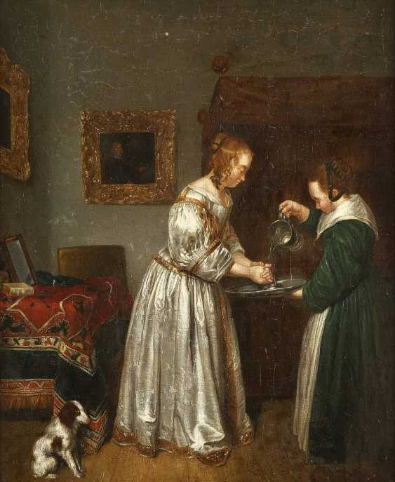 GERARD TERBORCH THE YOUNGER (FOLLOWER OF THE 18TH/19TH CENTURY) 1617 Zwolle - 1681 Deventer INTERIOUR SCENE WITH A YOUNG WOMAN WASHING HER HANDS - photo 1