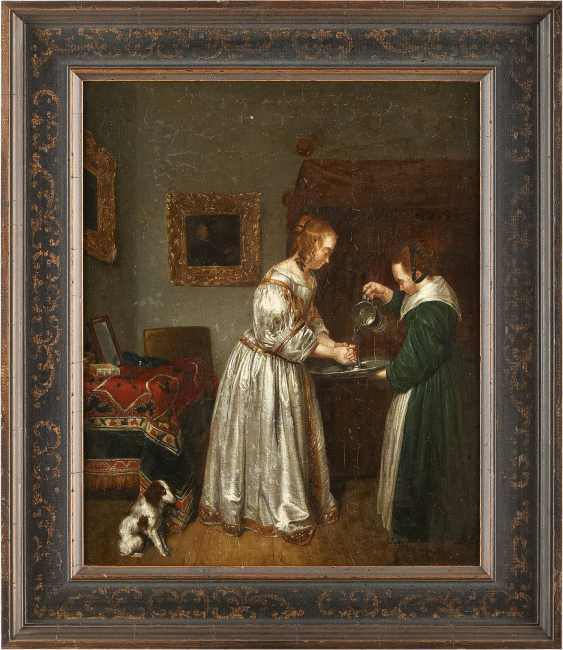 GERARD TERBORCH THE YOUNGER (FOLLOWER OF THE 18TH/19TH CENTURY) 1617 Zwolle - 1681 Deventer INTERIOUR SCENE WITH A YOUNG WOMAN WASHING HER HANDS - photo 2