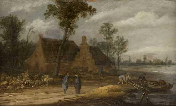 DAVID TENIERS DER JÜNGERE (UMKREIS) 1610 Antwerpen - 1690 Brüssel FLUSSLANDSCHAFT MIT BAUERNHAUS UND PERSONENSTAFFAGE - photo 1