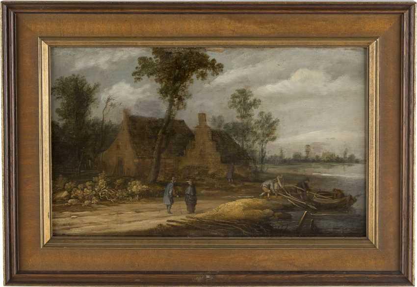 DAVID TENIERS DER JÜNGERE (UMKREIS) 1610 Antwerpen - 1690 Brüssel FLUSSLANDSCHAFT MIT BAUERNHAUS UND PERSONENSTAFFAGE - photo 2