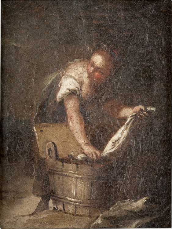 ITALIENISCHER MEISTER Tätig 1. Hälfte 18. Jahrhundert WÄSCHERIN - photo 1