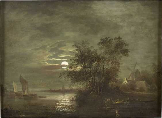 AERT VAN DER NEER (NACHFOLGE) 1603 Amsterdam - 1677 Ebenda AUSFAHRENDE FISCHER BEI VOLLMOND - photo 1
