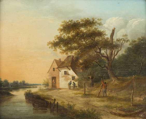 JOHANNES JANSON (ATTR.) 1729 Ambonia (Molukken) - 1784 Leiden FLUSSLANDSCHAFT MIT BAUERNHAUS UND EINEM FISCHER, DER SEIN NETZ FLICKT - photo 1