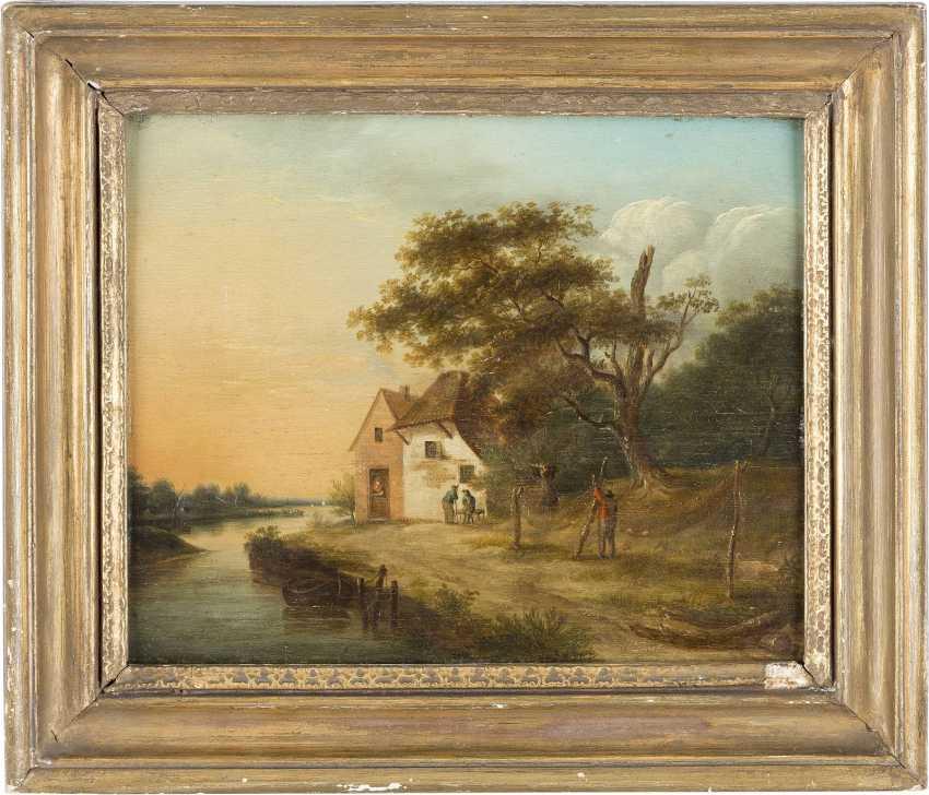 JOHANNES JANSON (ATTR.) 1729 Ambonia (Molukken) - 1784 Leiden FLUSSLANDSCHAFT MIT BAUERNHAUS UND EINEM FISCHER, DER SEIN NETZ FLICKT - photo 2