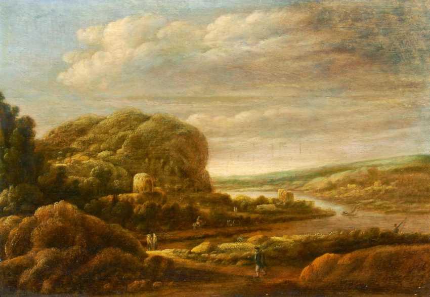 Wide, mountainous river landscape with figures - photo 1