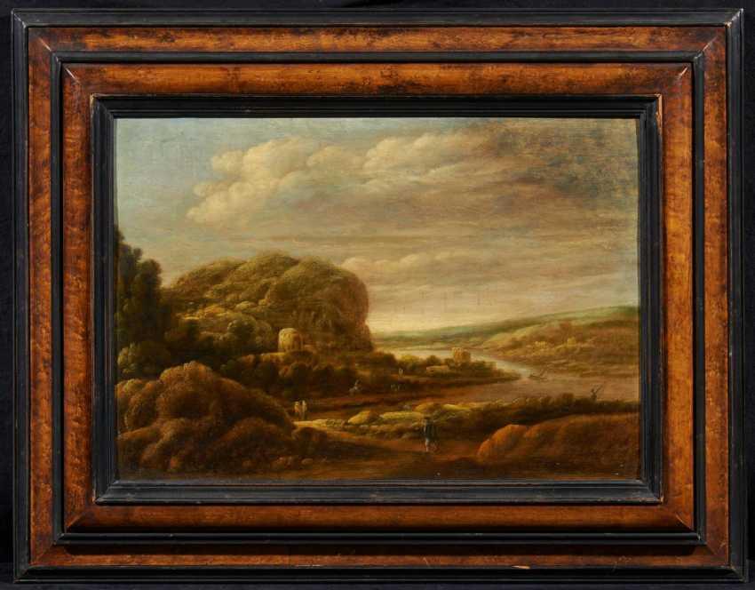 Wide, mountainous river landscape with figures - photo 2